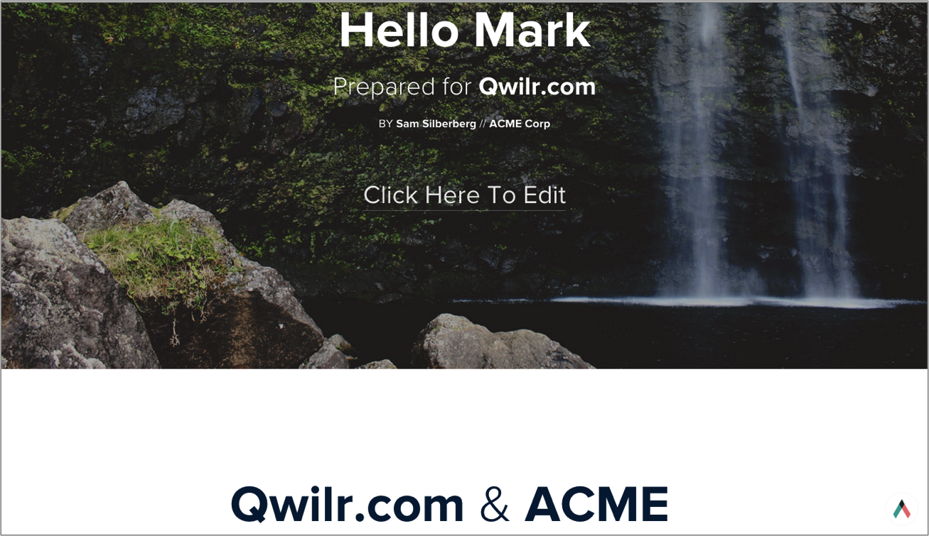 Sales proposal made in seconds using Qwilr